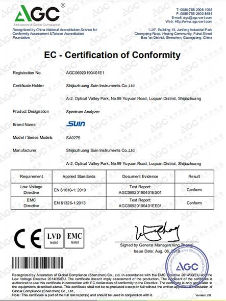 SA9275 CE Certificate