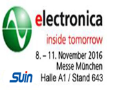 Suin Instruments will attend the electronica in Messe Munich, in November 8-11, 2016